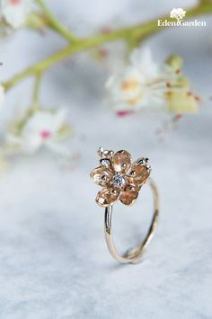 Unique diamond ring, yellow gold ring, engagement ring, gold flower ring, flower engagement ring, proposal ring, romantic ring, unique ring