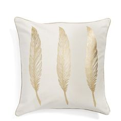 Levtex 'Gold Feathers' Pillow (€35) ❤ liked on Polyvore featuring home, home decor, throw pillows, white, white toss pillows, white throw pillows, gold accent pillows, gold home accessories and gold toss pillows