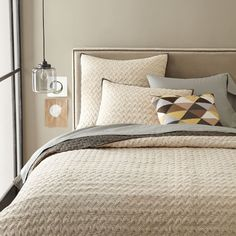Warm neutral with geometric-  Hand-Blocked Zigzag Coverlet | west elm