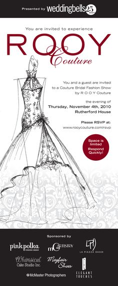 If you are a bride, you do not want to miss this exclusive fashion show by R O O Y Couture! Come take in the luxurious one-of-kind gowns cre...