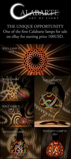 Six of the first Calabarte lamps from years 2009-2011 will be soon put on eBay for symbolic starting price 100USD.