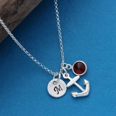 Personalized Anchor Necklace in Sterling Silver . by MonyArt, $30.80