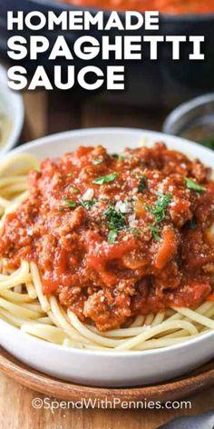 Ground Beef Spaghetti Sauce, Spaghetti Sauce Easy, Spagetti Sauce, Spaghetti Recipes, Spaghetti Sauce Recipe Crushed Tomatoes, Spaghetti Crockpot, Best Spaghetti Recipe, Pasta Spaghetti, Italian Dishes