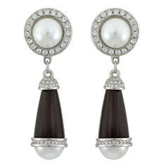 Kenneth Jay Lane Black Art Deco Pearl Crystal Drop Earrings | Earrings | Jewelry | Jewelry & Accessories | SOPHIE'S CLOSET®