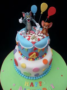 Tom and Jerry themed birthday cake - cake by - CakesDecor Themed Birthday Cakes, 4th Birthday, Birthday Ideas, Tom And Jerry Cake, Unusual Wedding Cakes, Room Baby, Cookie Desserts, Amazing Cakes, Cake Ideas