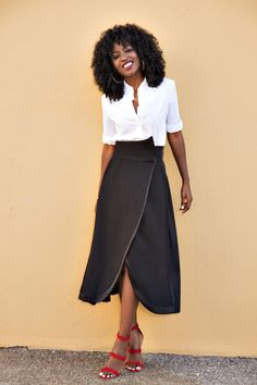 Style Pantry   Classic Button-Up Shirt + Origami Midi Skirt