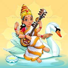 Buy Sarasvati Hindu Goddess by ddraw on GraphicRiver. Sarasvati, Hindu Goddess of Knowledge, Music, Arts, Wisdom and Learning. Baby Ganesha, Baby Krishna, Krishna Art, Saraswati Goddess, Goddess Art, Cartoon Cartoon, Durga Painting, Baby Buddha, Mythological Characters