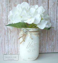 painted mason jar, rustic wedding, burlap vase, gift, Duchess Jewel mason jar vase rustic wedding by themasonjarcompany, $7.00