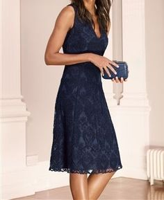 Notes of Blue: Navy Lace V-Neck Dress from Next