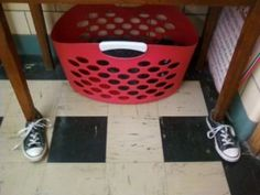 TABLES WEARING SHOES??? Have a place for kids to practice tying their shoes when done with their work.