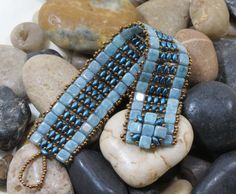 Love the clasp! Super Duo Czechmate Tile Bracelet Turquoise Blue Picasso Tiles Petrol Blue Super Duo Antique Bronze Toho Seed Beads Beaded Clasp
