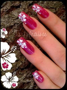 Beautiful red nails with white flowers decoration!