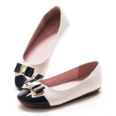 White Black Patent Leather Flat Wedding Cocktail Party Dress Flats Shoes SKU-1090734