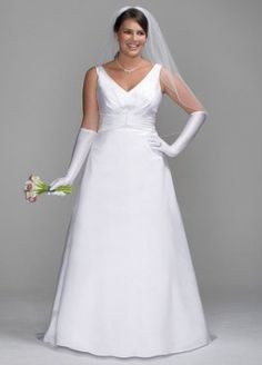 Davids Bridal Wedding Dress: Satin A-Line Gown with Pleated Waist Detail Style 9SAS1202