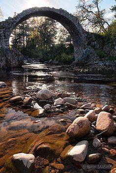 Carrbridge with the oldest bridge in Scotland