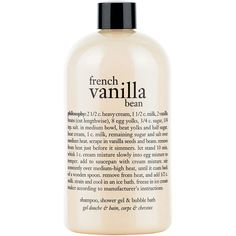 Philosophy French Vanilla Bean Ice Cream Shower Gel (18 CHF) ❤ liked on Polyvore featuring beauty products, bath & body products, body cleansers, beauty, fillers, makeup, accessories, no color and bubble bath