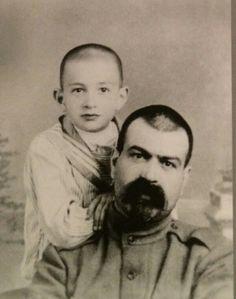 "Yakov Mikhailovich Yurovsky with one of his sons. ""AL"""
