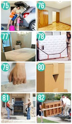 put a fitted sheet on both sides of mattress to keep clean. Use mattress straps to hold and carry mattresses easily. Moving House Tips, Moving Home, Moving Day, Moving Tips, Moving Hacks, Packing To Move, Packing Tips, Moving Clothes, Moving Checklist