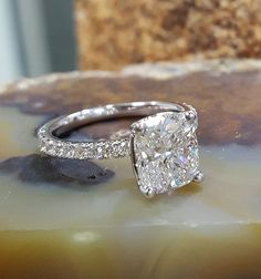 2.50 ct. Cushion Cut Diamond Pave Set Engagement Ring K, SI1 GIA Certified Plat #KingofJewelry #SolitairewithAccents