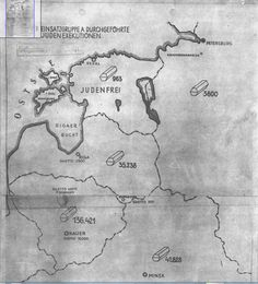 """This map accompanied a secret undated German report on the mass murder of Jews by Einsatzgruppen A (mobile killing unit A).. Entitled """"Jewish Executions Carried Out by Einsatzgruppen A"""" and stamped """"Secret Reich Matter,"""" shows the number of Jews executed (symbolized by coffins) in the Baltic states and Belorussia by late 1941. """"— National Archives and Records Administration, College Park, Md."""