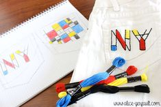 Customiser un jean avec de la broderie inspiration Mondrian, DIY par Alice Gerfault Mondrian, Alice, Couture, Diy, Inspiration, Embroidered Jeans, Embroidery, Biblical Inspiration, High Fashion