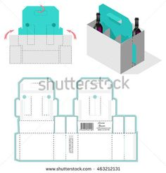 Bottle Carrier Box, Die Cut Template, Carry On Protective design, die-stamping layout pattern, folding, ready handle