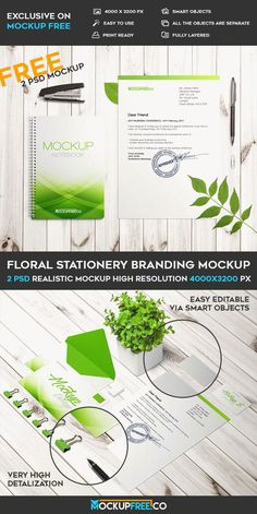 2 Free Floral Stationery Branding PSD Mockups | Free PSD Templates | #free #photoshop #mockup #psd #flral #stationery #branding