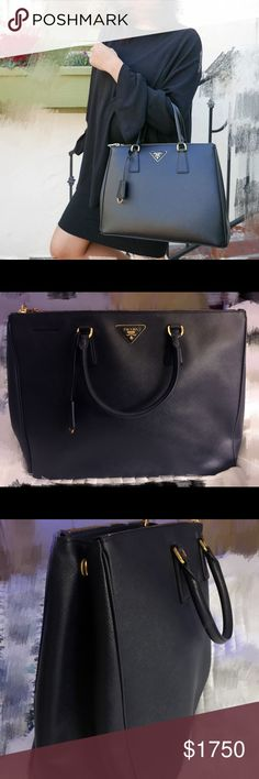 prada saffiano lux large double-zip tote bag Brand new classic Prada saffiano tote bag Color: navy blue Size: large (details see last pic) Prada Bags Totes