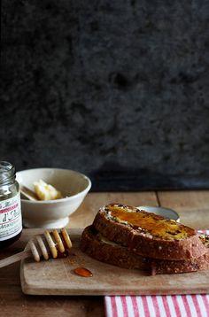 {Bread, butter, honey.}