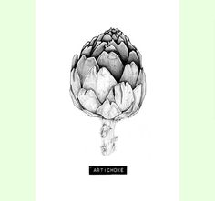 Artichoke: A4 print // Food & Kitchen art // by carlijnclaire