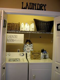 Laundry room for apartment    I want to do something like this for my laundry room at my new apartment.  The layout is very similar to mine!  The laundry sign is cute too! :)