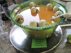 Small plastic skulls floating in punch bowl is a nice touch for a pirate theme party or a Halloween party