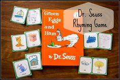 """Dr Seuss Rhyming and Matching game for """"Green Eggs and Ham"""" Free, Dr Seuss Rhyming Poems Rhyming Activities, Book Activities, Dr Seuss Week, Dr Suess, Holiday Program, Green Eggs And Ham, Teaching Time, Early Literacy, Matching Games"""