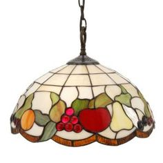 Tiffany Fruit Collection 2-Light Hanging Antique Brass Pendant Light-STH11002 at The Home Depot