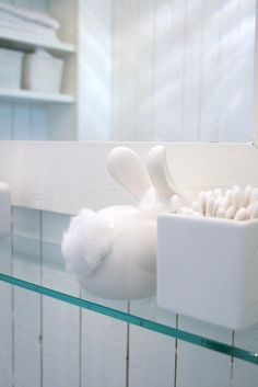 Bunny rabbit cotton ball dispenser. indoor-decor