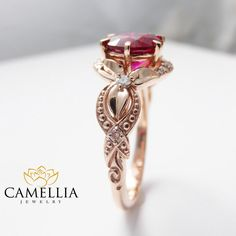14K Rose Gold Red Ruby Engagement Ring Pigeon Blood Red Ruby Ring Unique Engagement Ring Art Deco Ruby Ring by CamelliaJewelry on Etsy https://www.etsy.com/listing/257641873/14k-rose-gold-red-ruby-engagement-ring