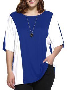 Plus Size Color Block Blouse