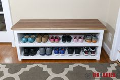 Entryway Bench With Storage Plans Diy Entryway Shoe Storage Bench 101 Simple Shoe Storage Bench Entryway, Shoe Rack Bench, Diy Shoe Storage, Laundry Room Storage, Storage Ideas, Storage Shelves, Shoe Rack Plans, Storage Organization, Furniture Projects