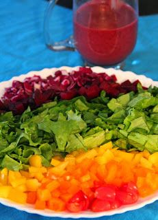 Jo and Sue: Rainbow Salad With Roasted Blueberry Vinaigrette