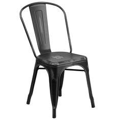 Flash Furniture Distressed Black Metal Chair [ET-3534-BK-GG]