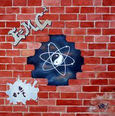 """TRA IL VISIBILE E L'INVISIBILE  Daniela Biganzoli(Dab)-Tecnica mista -100×100-2013-Il vecchio muro cadente fa da separazione tra il Visibile e l'Invisibile.In primo piano,in stile graffiti,si leggono le formule più conosciute della Fisica Classica,che interpretano il Visibile.Ma squarciando quel muro troveremo l'Invisibile,rappresentato dalla Fisica Quantistica,interpretata dall' """"Entanglement """"che conferma come tutto sia collegato e rappresentato dall'atomo del LITIO che ha come nucleo…"""