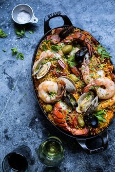 Skillet Grilled Seafood and Chorizo Paella.
