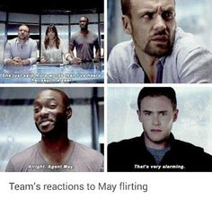 Pinning mainly for Trip's beautiful face. -T (Marvel: Agents of S. Melinda May, Lance Hunter, Antoine Triplett, & Leo Fitz) Iain De Caestecker, Chloe Bennet, Marvel Memes, Marvel Avengers, Agents Of S.h.i.e.l.d, Melinda May, Fitz And Simmons, Def Not, Marvels Agents Of Shield