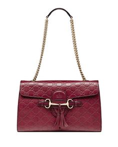 Emily Guccissima Leather Chain Shoulder Bag, Dark Red by Gucci at Neiman Marcus.