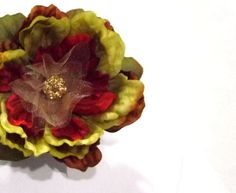 Whimsical Silk Flower Hair Clip Chartreuse Green by SeamsVictorian, $12.00