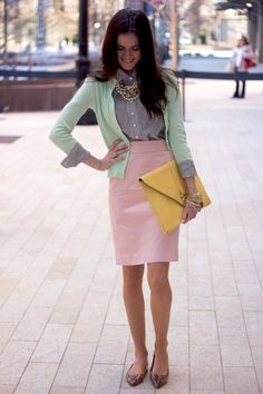 Navy pinstripe button down, mint cardigan, pink pencil skirt, tortoise colored flats, and large yellow envelope clutch.