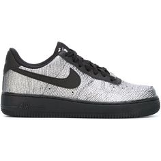 Nike Air Force 1 Sneakers (£76) ❤ liked on Polyvore featuring shoes, sneakers, black, black trainers, black lace up shoes, leather flat shoes, lace up sneakers and nike footwear