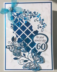 Sue Wilson Greek Island - Background. Tattered Lace Ivy. Memory Box Waltzing Butterflies.