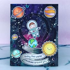 I covered an entire sheet of Canson XL paper with galaxies, so I have a few more #lawnfawn Out of this world projects to share. Swipe to see them :) the slider card and the fused shaker card are my favorites.