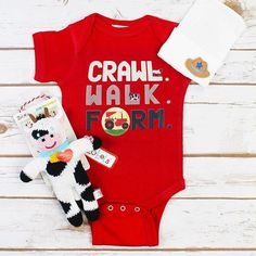 NEW ARRIVALS!! We are obsessed with our new onesies!! Would this not make the most perfect baby shower gift?! #babyshowergift #crawlwalkfarm #newborn #luxebaby #weship #luxebaby #shoplocal #shopluxebaby #babygirl #newarrivals #instababy #weship #boutique #love #cute #babygift #babyshower #weship Newborn farm onesie $22 Hospital cap $22 Zubel knit rattle $20